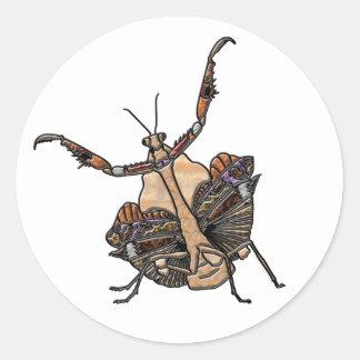 Dead Leaf Mantis Classic Round Sticker