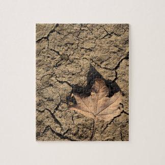 Dead Leaf on Dry Dirty Soil - Autumn Photography Jigsaw Puzzle