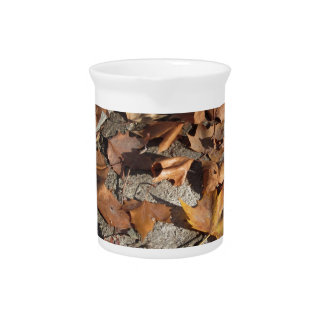 Dead leaves lying on the ground in the fall beverage pitcher