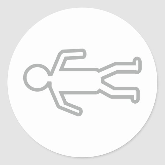 dead man on floor icon classic round sticker