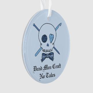 Dead Men Craft No Tales - Craft Skull (Blue Back) Ornament