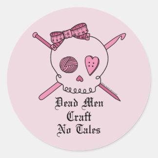 Dead Men Craft No Tales (Pink Background) Classic Round Sticker