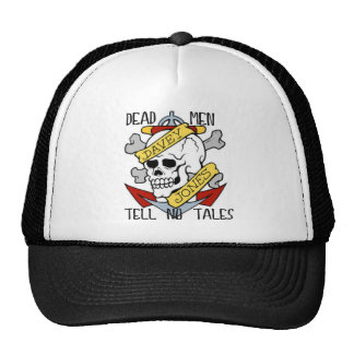DEAD MEN TELL NO TALES... PIRATE TATTOO DAVEY JONE TRUCKER HAT