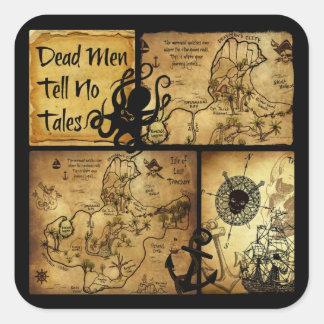Dead Men Tell No Tales Treasure Map Square Sticker