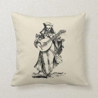 DEAD Musician - black print Throw Pillow