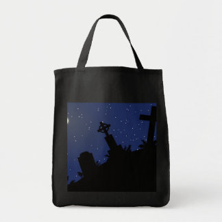 DEAD OF NIGHT! (tombstones - graveyard) ~ Grocery Tote Bag