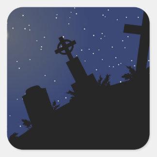 DEAD OF NIGHT! (tombstones - graveyard) ~ Square Sticker