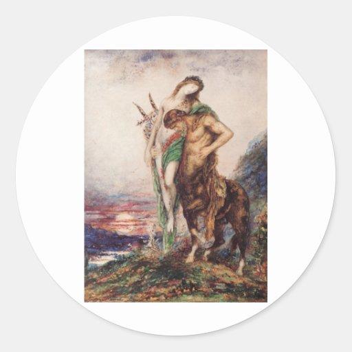 Dead poet borne by a centaur classic round sticker