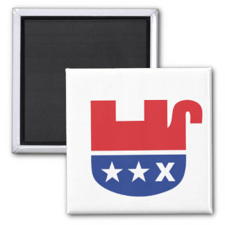Dead Republican Elephant 2 Inch Square Magnet