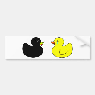 Dead Rubber Duck Mourned by Crying Rubber Duck Bumper Sticker