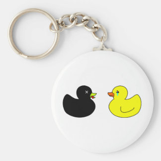 Dead Rubber Duck Mourned by Crying Rubber Duck Keychain