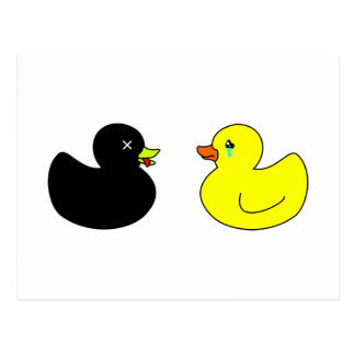Dead Rubber Duck Mourned by Crying Rubber Duck Postcard