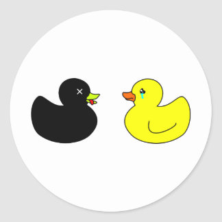Dead Rubber Duck Mourned by Crying Rubber Duck Sticker