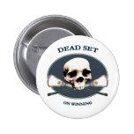 Dead Set Skull Lacrosse Button