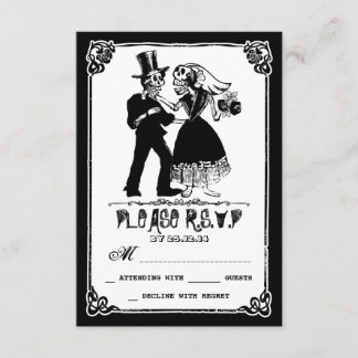 dead skeleton couple wedding rsvp