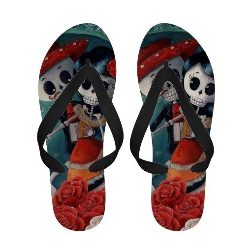 Dead Skeleton Mexican Lovers Flip Flops