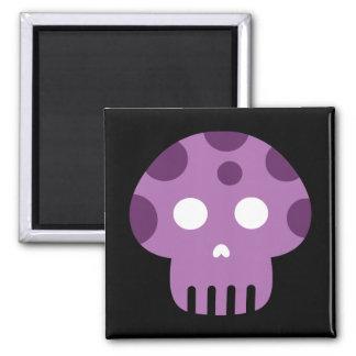 Dead Skull Poison Mushroom 2 Inch Square Magnet