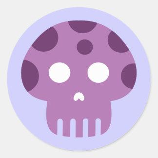 Dead Skull Poison Mushroom Classic Round Sticker