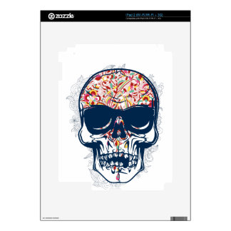 dead skull zombie colored design decal for iPad 2