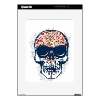 dead skull zombie colored design decal for the iPad