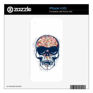 dead skull zombie colored design iPhone 4S skins