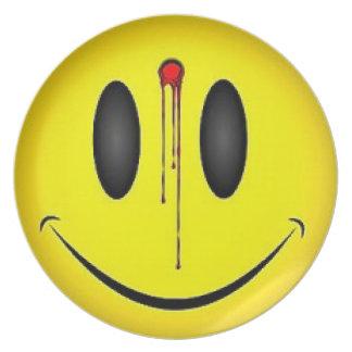 Dead Smiley Melamine Plate