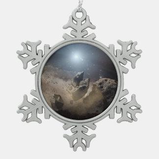 Dead Star Snowflake Pewter Christmas Ornament