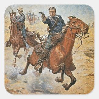 Dead Sure: a U.S. Cavalry trooper in the 1870s (co Square Sticker