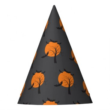 Halloween Themed Dead tree, orange moon and bats Halloween Party Hat