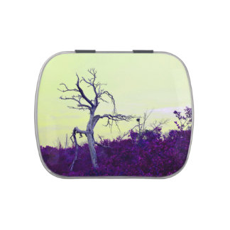 dead tree purple yellow leaves sky candy tins