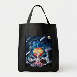 Dead tree red mountains yellow planet space tote bag