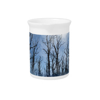 Dead Trees in Blue Beverage Pitcher