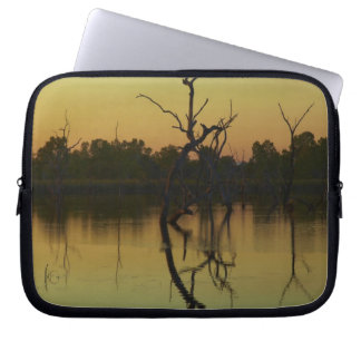 Dead trees reflected in Lily Creek Lagoon, dawn Laptop Sleeve