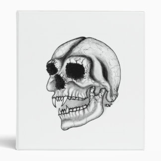 Dead vampire head black - white design 3 ring binder