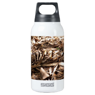 Dead wood and leaves on the forest floor. insulated water bottle