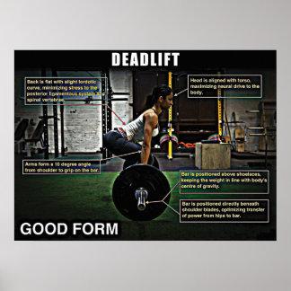 Deadlift - buena forma - poster del gimnasio del