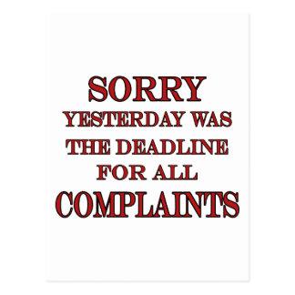 Deadline For Complaints Postcard