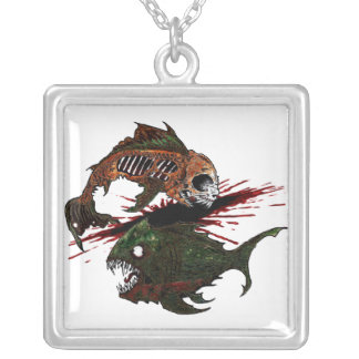 deadly bite square pendant necklace