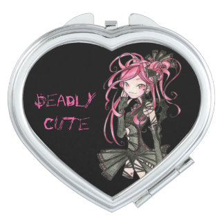 deadly cute Yumi gothic style make up black & pink Compact Mirror