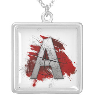 Deadly Design Monogram Letter A Personalized Necklace