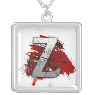 Deadly Design Monogram Letter Z Square Pendant Necklace