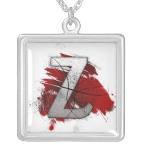 Deadly Design Monogram Letter Z Silver Plated Necklace
