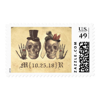 deadly lovely skeleton couple wedding stamps