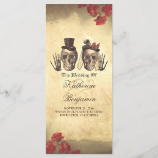 Deadly nice Gothic skull couple wedding programs