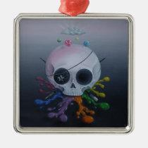 skull, paint, rainbow, sugar, fueled, sugarfueled, michael, banks, coallus, sugarskull, cute, creepy, Ornament with custom graphic design