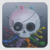 skull, paint, rainbow, sugar, fueled, sugarfueled, michael, banks, coallus, sugarskull, cute, creepy, Sticker with custom graphic design