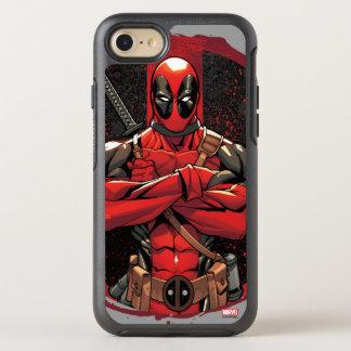Deadpool en logotipo de la salpicadura de la funda OtterBox symmetry para iPhone 7