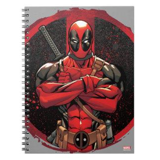 Deadpool en logotipo de la salpicadura de la libros de apuntes con espiral