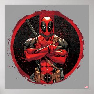 Deadpool en logotipo de la salpicadura de la póster