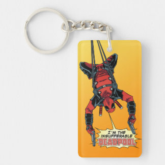 Deadpool Hanging From Harness Keychain